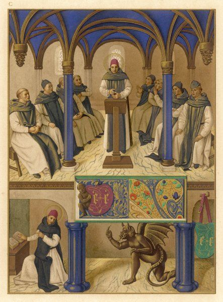 Thomas Aquinas, noted theologian, depicted instructing a group of clerics, some of whom raise their hands in admiration