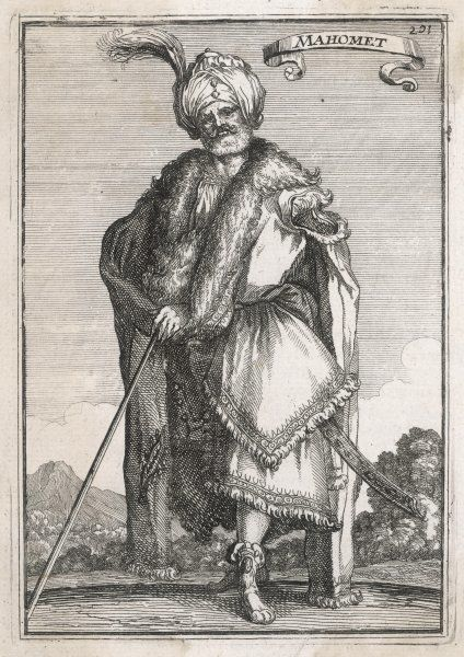 A portrait of a 'Mahomet' of Arabia wearing a bejewelled turban with feather and a fur- lined tunic and coat