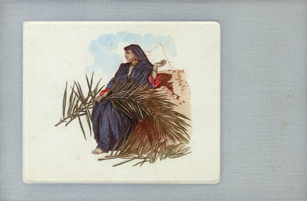 Arab Woman with palm fronds, Egypt Date: circa 1902