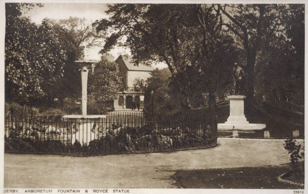 The Arboretum, a public park near the centre of Derby, with a fountain (left) and a statue of Sir Frederick Henry Royce (1863-1933), the English engineer and automobile manufacturer. The statue was installed in the park in 1923, moved to the River