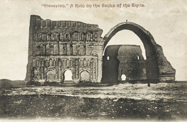 The gigantic vaulted hall (the Taq Kisra) at Ctesiphon, an ancient Parthian city located southeast of modern Baghdad. It is traditionally recognised as the palace of Khosrow I