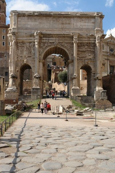 View of the Arch of Septimius Severus in Rome, Italy