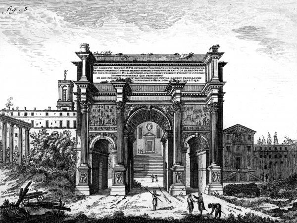 The Arch of Septimus Severus built in 204 AD after the Parthian victories at the end of the Roman Forum. Date: 3rd century