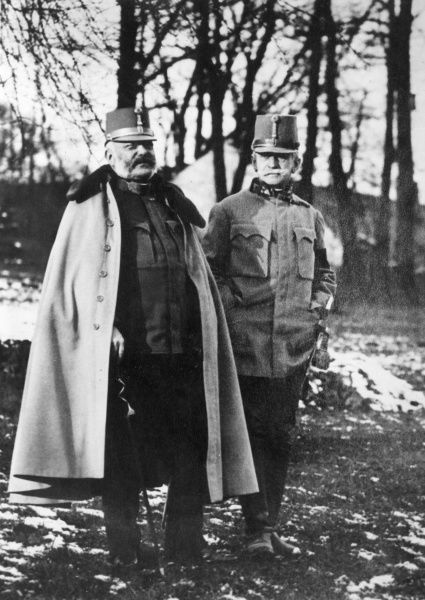 Archduke Friedrich Maria of Austria (1856-1936) (left), Supreme Commander of the Austro-Hungarian Army during the First World War, with Count Franz Conrad von Hotzendorf (1852-1925) (right), Chief of the General Staff.  circa 1914