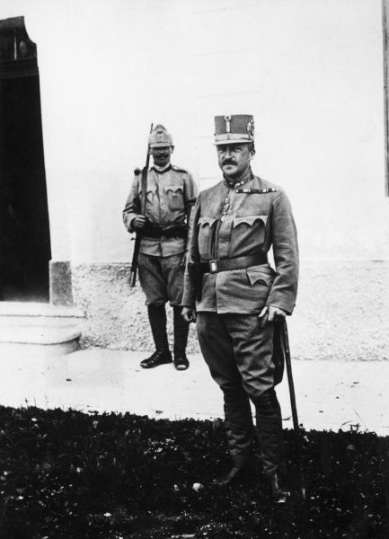 Archduke Joseph August Viktor Klemens Maria of Austria, Prince of Hungary and Bohemia (1872-1962). Seen here in uniform during the First World War, with a guard standing in the background. Date: 1914-1918