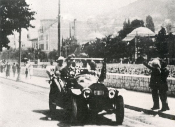 Archduke Franz Ferdinand and his wife riding along in their car along a street in Sarajevo before their assassination. Date: 28 June 1914