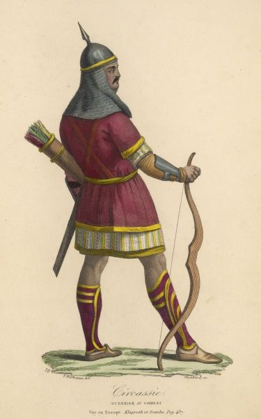 A warrior from the Caucasus region in Eurasia (loosely determined by Russia to the North, Iran to the south, the Black Sea to the west and the Caspian sea to the east)
