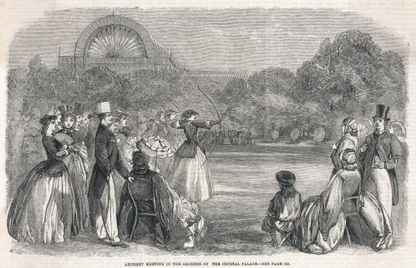 Female archers line up during an archery meeting in the grounds of the Crystal Palace, London