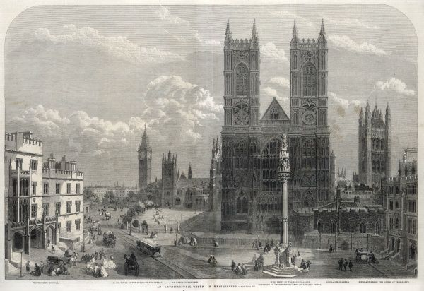 A London vista, with a horse-drawn tram and carriages, and several buildings of note including Westminster Hospital, Big Ben, Parliament Square, St Margaret's Church, the west front of Westminster Abbey, the monument to Crimean War casualties