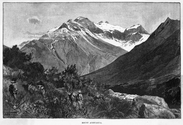 Distant view of Aconcagua, the highest peak in the Andes and indeed in the Western hemisphere : it was first climbed in 1897