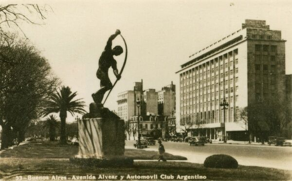 Argentina - Buenos Aires - Automobile Club and Avenida Alvear. Photo (30/40) from a fold-out set