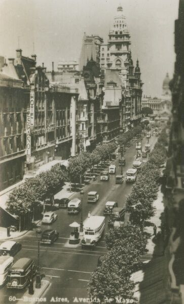Argentina - Buenos Aires - a view down the Avenida de Mayo. Photo (31/40) from a fold-out set
