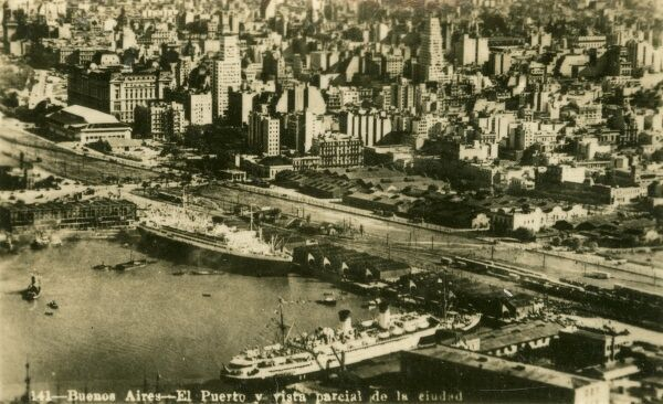 Argentina - Buenos Aires - The Port and a partial view of the city. Photo (2/40) from a fold-out set