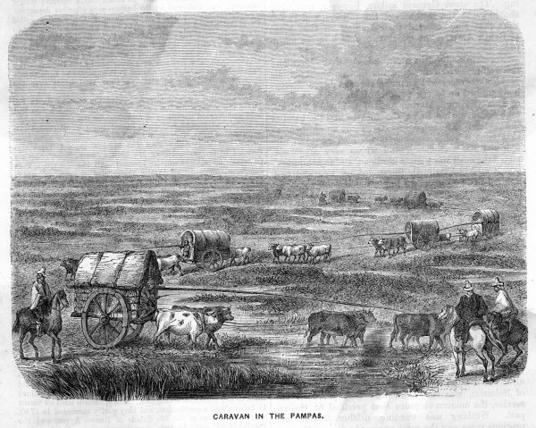 A caravan crossing the Pampas