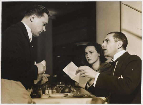 The original caption says: 'Arguing with the waiter is bad form and embarrassing for your partner. If you've been overcharged, complain to the manager later.&#39
