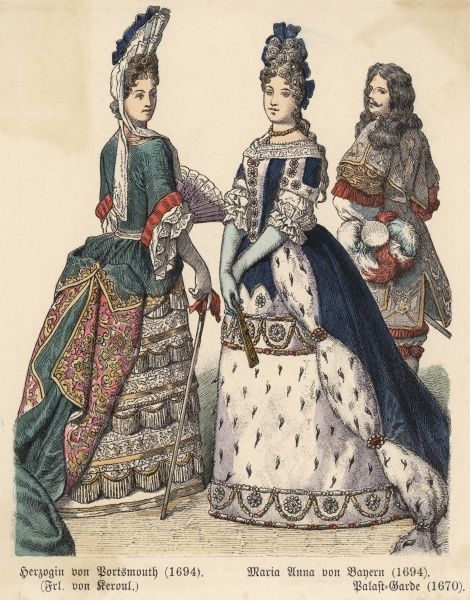 Fontange headdress, petticoats are lavishly & horizontally trimmed, the over-skirt of the gown caught up to reveal it. One gown is partially of ermine