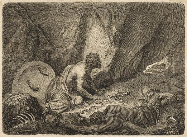 During the war with Sparta, Aristomenes hides in a cave
