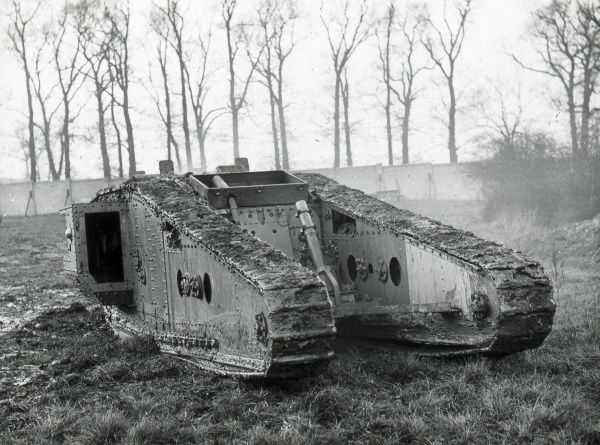An armoured tank undergoing field testing during the First World War