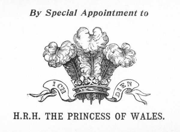 Prince of Wales Feathers: in this case used to signify that a manufacturer has been granted the Royal Appointment of the Her Royal Highness the Princess of Wales