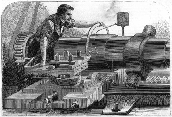 The finishing touches are applied by lathe to a 100 pounder Armstrong gun at the Woolwich Arsenal, London Date: 1862