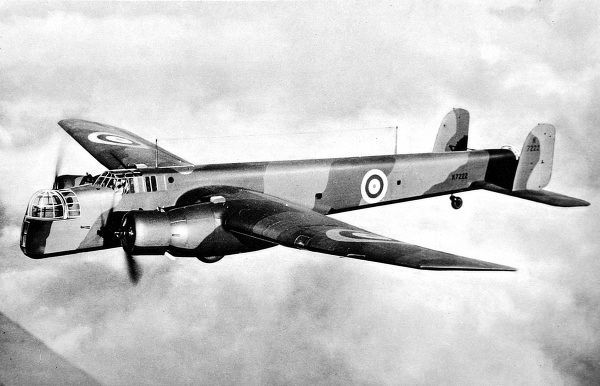 Photograph of a Royal Air Force Armstrong Whitworth 'Whitley' bomber in flight, 1939