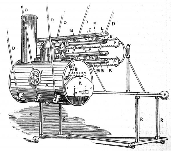 Hydro-electric machine invented by William George Armstrong (1810-1900), later Baron Armstrong of Bamburgh and Cragside, in the 1840's