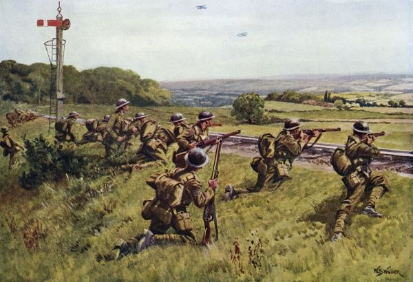 'Holding the railway' - infantry on manoeuvres between the two world wars. Date: 1920s