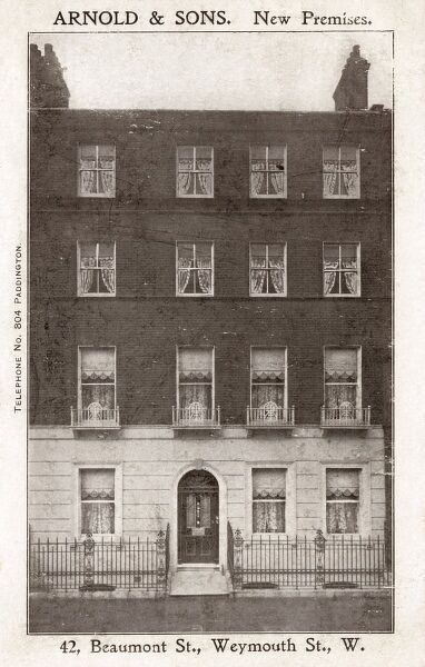 Arnold & Sons - New West End Branch Premises in Paddington at 42 Beaumont Street, off Weymouth Street, London. Suppliers of artificial limbs, surgical appliances etc. Date: 1906