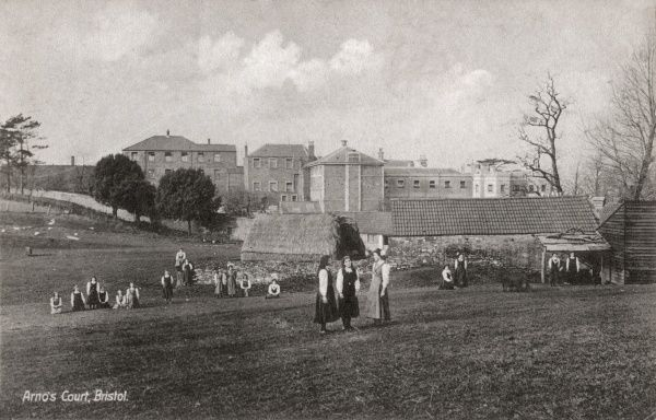 Inmates and staff at Arno's Court Reformatory for Roman Catholic Girls in Bristol, opened in 1856