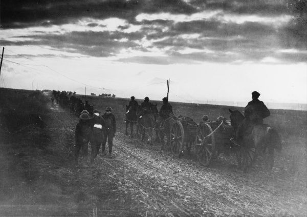 British artillery advancing at dawn near Moeuvre during the Arras-Cambrai campaign on the Western Front in France during World War I in September 1918