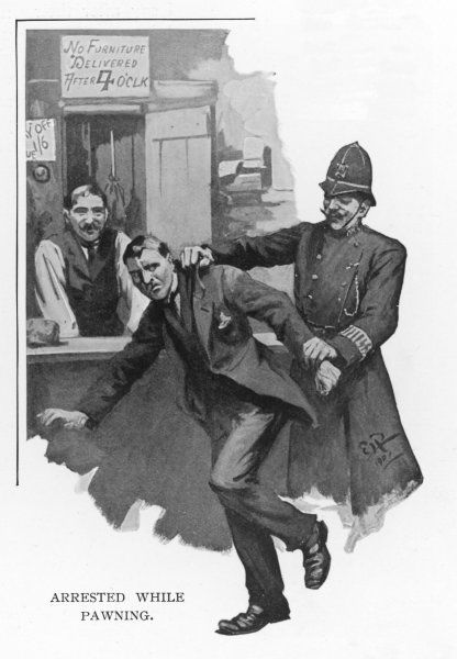 A man is grabbed by a policeman while pawning