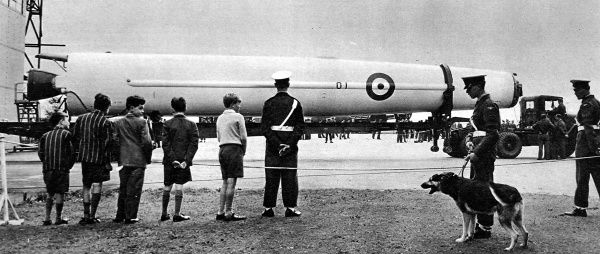 Photograph of the delivery of first 'Thor' Ballistic Missile to an RAF Base in Norfolk, 19th September 1958