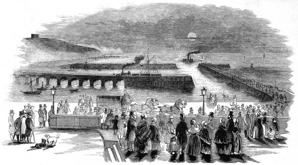 Engraving showing the Mail ship entering Folkestone Harbour, with the Express Train standing by to receive the mail and take it to London
