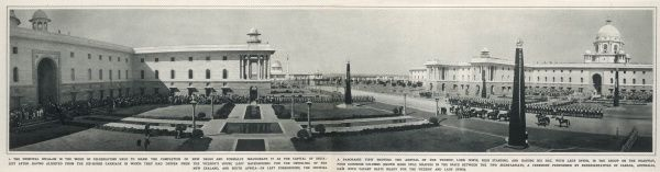A panoramic view of the two secretariats and the four dominion columns waiting to be unveiled during the inauguration of New Delhi in 1931 as the capital of India. The residence of the viceroy, Lord Irwin, can be seen left in the background