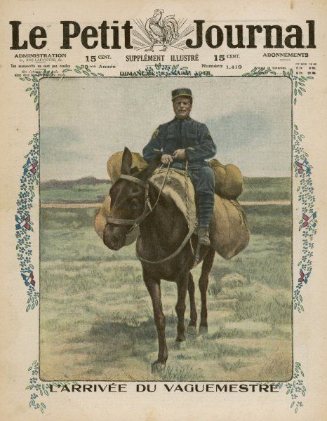The arrival of the post orderly on horseback, the soldier in charge of the management of the post, to deliver letters and parcels to the men at the front