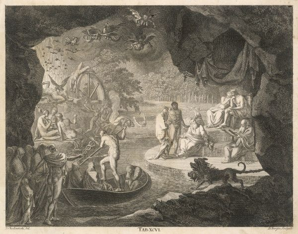 Charon brings a boatload of new residents to the infernal shores, accompanied by barking from Charon : Mercury and other deities contemplate the scene