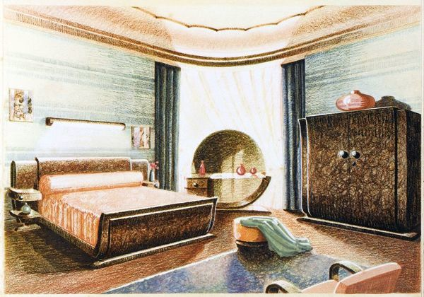 A spacious Art Deco bedroom designed by Roger Bal