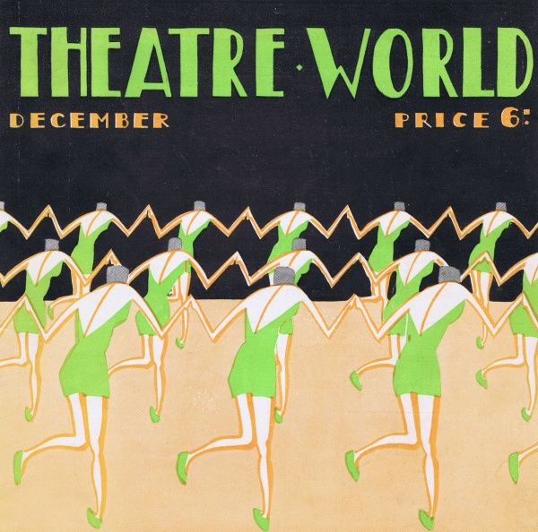 Art deco cover for Theatre World, December 1926. Artwork by Bovey. Date: 1926