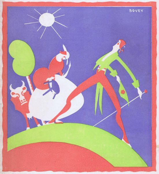 Art deco cover for the magazine Theatre World, July 1926, Vol III no18. Artwork by Bovey. Date: 1926