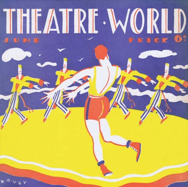Art deco cover for Theatre World, June 1927. Artwork by Bovey. Date: 1927