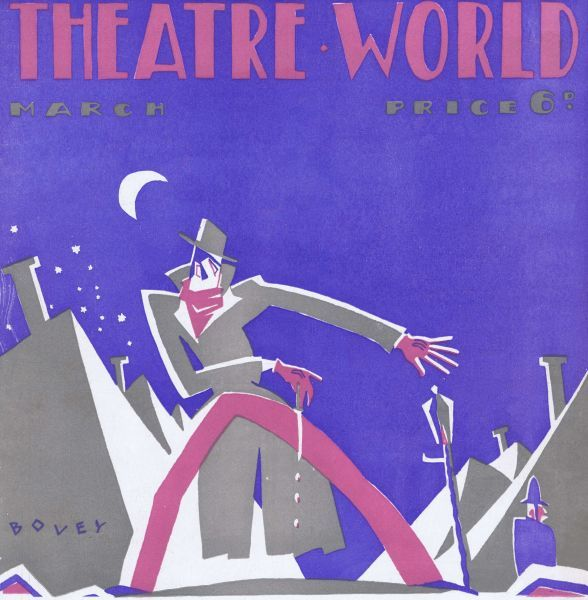 Art deco cover for Theatre World, March 1927. Artwork by Bovey. Date: 1927