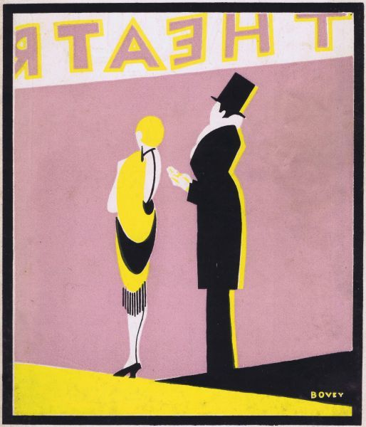 Art deco cover for the magazine Theatre World, October 1925, Vol II no9. Artwork by Bovey. Date: 1925