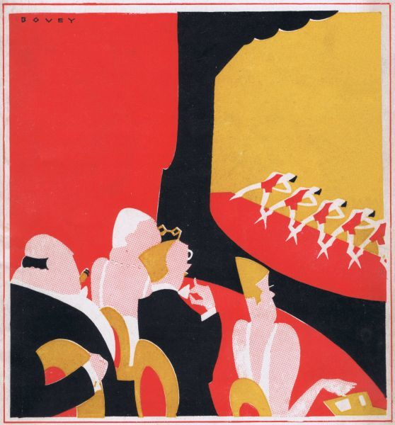 Art deco cover for the magazine Theatre World, September 1926, Vol IV no20. Artwork by Bovey. Date: 1926