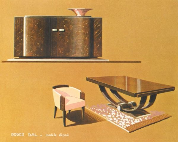 Art Deco dining suite by the French designer Roger Bal, comprising table, chair and sideboard. The fruit bowl is not included