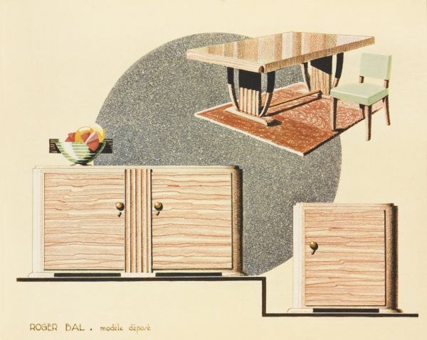 Art Deco dining suite by the French designer Roger Bal, comprising dining table and chair, sideboard and drinks cabinet