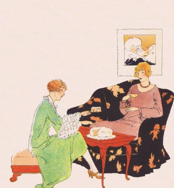 Art deco illustration of afternoon tea, 1920s Date: 1920s