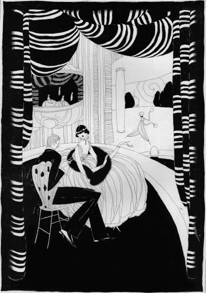Art deco illustration of a couple in a theatre box, 1916 Date: 1916