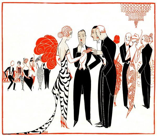 Art deco llustration by 'Fish' (Anne Harriet Fish), 1923 of smart London society Date: 1923