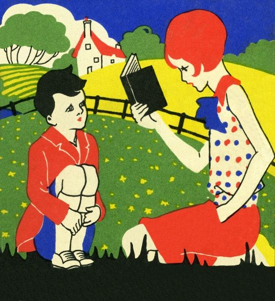 Art deco style girl reading to a boy. Illustrator WMC. Date: circa 1926