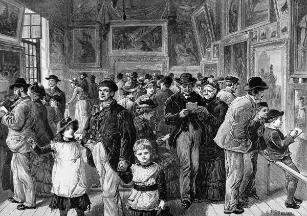 Engraving showing an art exhibition in St. Jude's School House, Commercial Street, East London, 1884